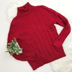 St Johns Bay Cable knit red turtleneck sweater